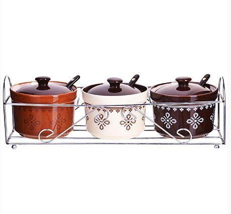 MAYER&BOCH keramikinių indelių rinkinys 3vnt, su šauksteliais ir stovu LORAIN LR-24665